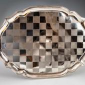 Ezüst antik nagy méretű fülestálca sakktàbla mintá