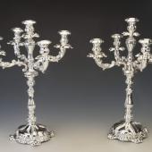 Ezüst antik bécsi kandeláber pár