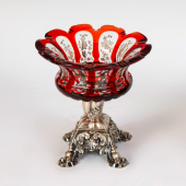 Ezüst antik bécsi asztalközép vörös üveggel