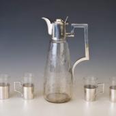 Ezüst likőröskészlet karafával eredeti dobozában