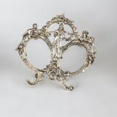 Ezüst páros asztali képkeret barokkos mintával