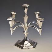 Ezüst art deco stílusú öt ágú gyertyatartó