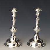 Ezüst finoman cizellált gyertyatartó pár