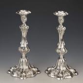 Ezüst barokkos gyertyatartópár