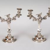 Ezüst madaras gyertyatartó párban