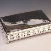Ezüst nagyméretű fabetétes doboz