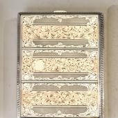 Ezüst cigarettatárca aranyozott barokkos díszítéss