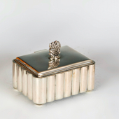 Ezüst art deco cukordoboz stilizált fogóval
