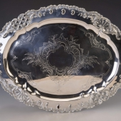 Ezüst barokk stílusú nagyméretű tálca