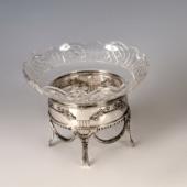 Ezüst üvegbetétes kínáló