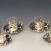 Szecessziós ezüst teáspoharak