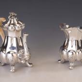 Antik bécsi ezüst kanna és kiöntő