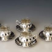 Ezüst liliomformájú kávéscsészék