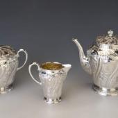 Ezüst barokk stílusú kávés-/teáskészlet