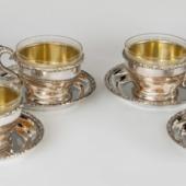 Ezüst bécsirózsás teáscsésze szettben 6 személyre