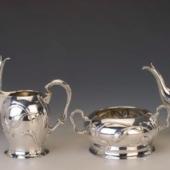 Ezüst szecessziós teás-/kávéskészlet